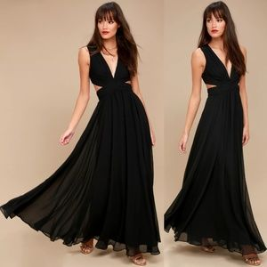 Vivid Imagination Black Cutout LuLus Maxi Dress M